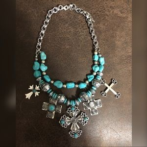 Turquoise Cross Necklace (NEW)